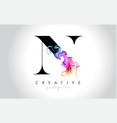 N vibrant creative leter logo design with vector