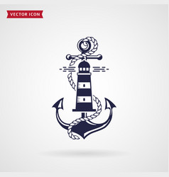 nautical emblem with anchor lighthouse and rope vector image