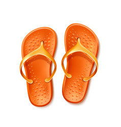 orange flip flops beach footwear slippers vector image