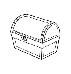 Outline closed wooden chest box treasure vector