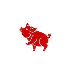 Pig is a symbol of the 2019 chinese year greeting vector