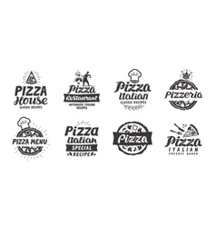 Pizza set logo label element Pizzeria vector