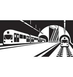 platform subway station with trains vector image