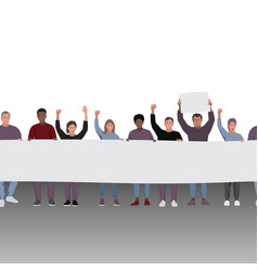 protesting people with fists raised and banners vector image
