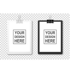 realistic black and white clipboard with vector image