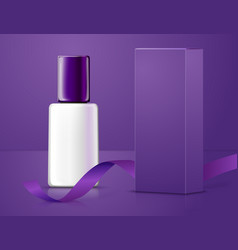 Realistic bottle with paper box and ribbon vector