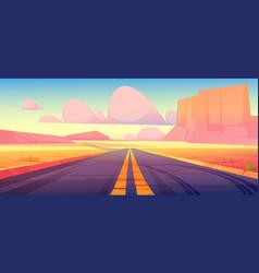 Road in desert scenery landscape with rocks way vector