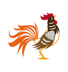 rooster symbol the chinese calendar cock design vector image
