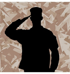 Saluting soldier on a desert army background vector image