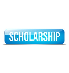 Scholarship blue square 3d realistic isolated web vector