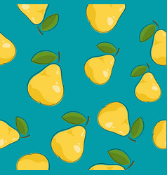 seamless pattern pear on azure background vector image