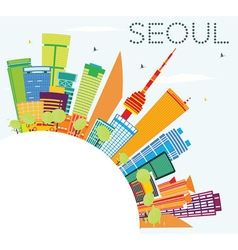Seoul Skyline with Color Buildings vector