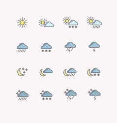 set of line icons weather vector image