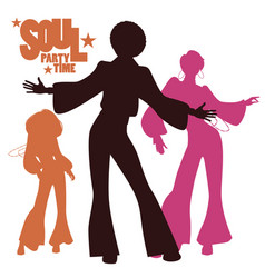 Silhouettes of three dancing soul funk or disco vector