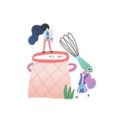 Small people big pot vector