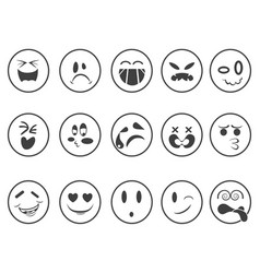 smiley emoji faces outline icons vector image
