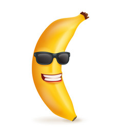 smiling banana cartoon character sunglasses 3d vector image