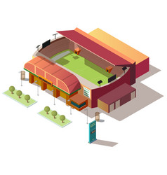 soccer stadium building with ticket office vector image