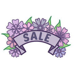 Spring sale sign on ribbon with purple flowers and vector