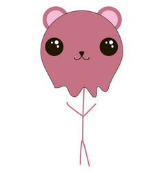 Stick bear with cute eyes on white background vector