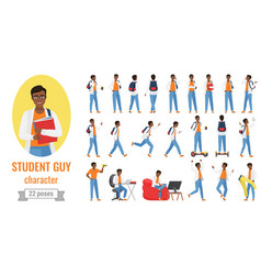 student guy poses set cartoon young male vector image