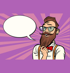 stylish bearded hipster with glasses thinks vector image