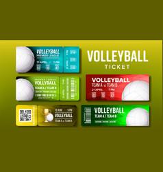 Stylish design volleyball tickets flyer set vector