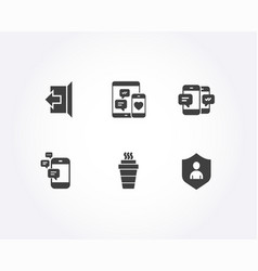 takeaway smartphone sms and social media icons vector image