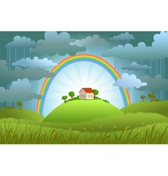 the rainbow protects small house vector image
