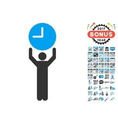 Time Manager Icon With 2017 Year Bonus Pictograms vector image