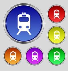 Train icon sign Round symbol on bright colourful vector