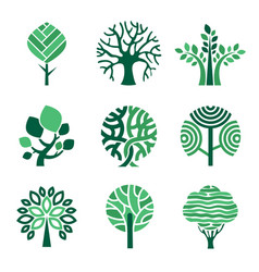 tree logo green eco symbols nature wood tree vector image