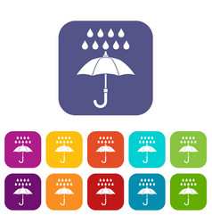 Umbrella and rain icons set vector