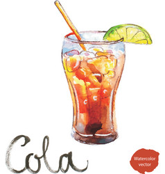 Watercolor cola with lime vector