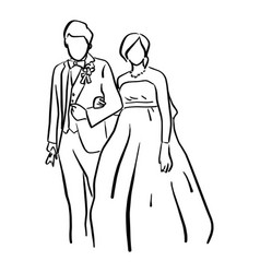 wedding couple bride and groom standing together vector image