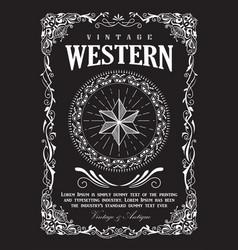 western border vintage frame flourish banner vector image