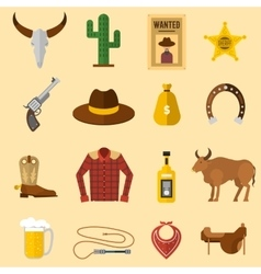 Wild west cowboy icons vector image