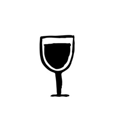 wine glass grunge icon ink vector image