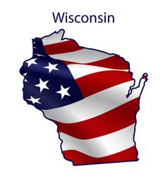 wisconsin full american flag waving in wind vector image