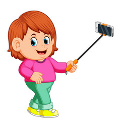 Young woman using selfie stick vector