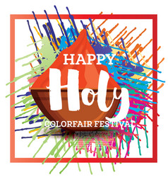 Happy holi celebration poster with frame vector