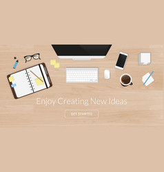 Realistic work desk organization top view with vector image