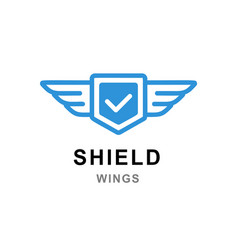 shield with wings logo template abstract symbol vector image