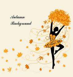 tender ballerina is holding maple leaves vector image vector image