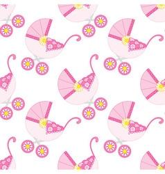 Baby Girl Stroller Seamless Pattern vector image