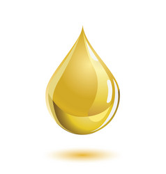 golden colored liquid drop icon with a shadow vector image