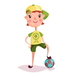little boy or kid child or schoolboy soccer ball vector image