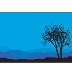 Silhouettes of spring tree vector image
