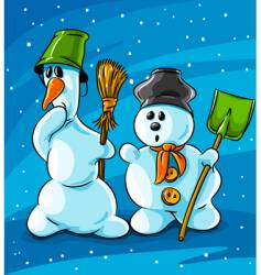 surprised winter snowmen with cleaning vector image vector image
