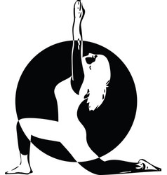 Beautiful sporty fit yogini woman practices yoga vector